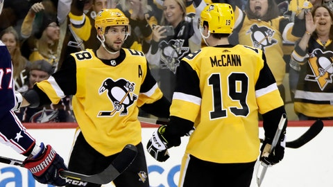 <p>               Pittsburgh Penguins' Kris Letang (58) celebrates his goal with Jared McCann during the second period of an NHL hockey game against the Columbus Blue Jackets in Pittsburgh, Saturday, Oct. 5, 2019. (AP Photo/Gene J. Puskar)             </p>