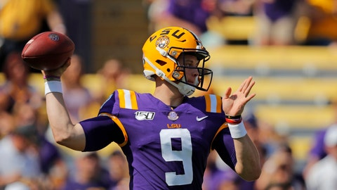 <p>               LSU quarterback Joe Burrow (9) throws a pass in the first half of an NCAA college football game against Utah State in Baton Rouge, La., Saturday, Oct. 5, 2019. (AP Photo/Gerald Herbert)             </p>