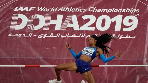 <p>               Erica Bougard, of the United States, clears the bar during the high jump in the women's heptathlon at the World Athletics Championships in Doha, Qatar, Wednesday, Oct. 2, 2019. (AP Photo/Morry Gash)             </p>