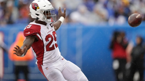<p>               Arizona Cardinals' Chase Edmonds reacts after scoring during the first half of an NFL football game against the New York Giants, Sunday, Oct. 20, 2019, in East Rutherford, N.J. (AP Photo/Adam Hunger)             </p>