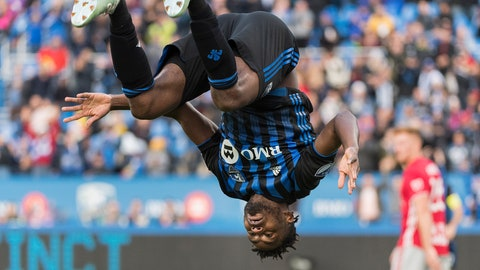 <p>               Montreal Impact's Orji Okwonkwo celebrates after scoring against the New York Red Bulls during the second half of an MLS soccer match in Montreal, Sunday, Oct. 6, 2019. (Graham Hughes/The Canadian Press via AP)             </p>