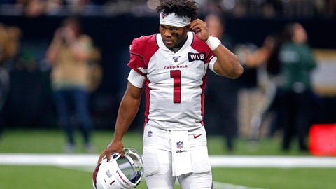<p>               Arizona Cardinals quarterback Kyler Murray (1) walks off the field after being sacked in the second half of an NFL football game against the Arizona Cardinals in New Orleans, Sunday, Oct. 27, 2019. The Saints won 31-9. (AP Photo/Butch Dill)             </p>