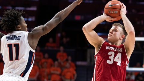 <p>               File-This Jan. 23, 2019, file photo shows Wisconsin guard Brad Davison (34) shooting over Illinois guard Ayo Dosunmu (11) during the second half of an NCAA college basketball game in Champaign, Ill. Davison, Wisconsin's second-leading returning scorer (10.5 points per game) is expected to help along with D'Mitrik Trice. Trice, 6-foot junior, could emerge as Wisconsin's top scoring option this year after averaging 11.6 points last season.  (AP Photo/Stephen Haas, File)             </p>