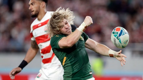 <p>               South Africa's Faf de Klerk celebrates after scoring a try during the Rugby World Cup quarterfinal match at Tokyo Stadium between Japan and South Africa in Tokyo, Japan, Sunday, Oct. 20, 2019. (AP Photo/Mark Baker)             </p>