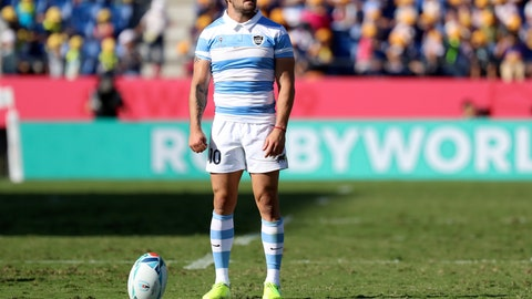 <p>               Argentina's Nicolas Sanchez prepares to kick a conversion during the Rugby World Cup Pool C game at Kumagaya Rugby Stadium between Argentina and the United States in Kumagaya City, Japan, Wednesday, Oct. 9, 2019. (AP Photo/Eugene Hoshiko)             </p>
