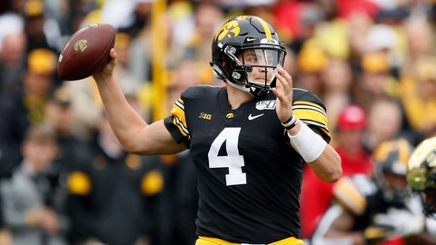<p>               Iowa quarterback Nate Stanley throws a pass during the first half of an NCAA college football game against Purdue, Saturday, Oct. 19, 2019, in Iowa City, Iowa. (AP Photo/Charlie Neibergall)             </p>