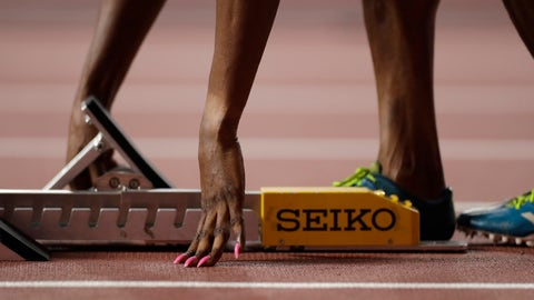 <p>               Patience Okon George, of Nigeria adjusts her starting blocks before a women's 400 meter heat at the World Athletics Championships in Doha, Qatar, Monday, Sept. 30, 2019. (AP Photo/Petr David Josek)             </p>