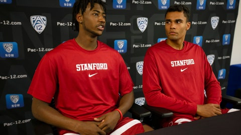 <p>               Stanford's Daejon Davis, left, and Oscar da Silva speak during the Pac-12 NCAA college basketball media day in San Francisco, Tuesday, Oct. 8, 2019. (AP Photo/D. Ross Cameron)             </p>