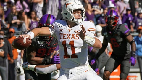 <p>               Texas quarterback Sam Ehlinger (11) throws a pass in the first half of an NCAA college football game against TCU in Fort Worth, Texas, Saturday, Oct. 26, 2019. (AP Photo/Louis DeLuca)             </p>