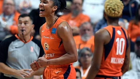<p>               Connecticut Sun's Alyssa Thomas reacts to a play during the first half in Game 4 of basketball's WNBA Finals against the Washington Mystics, Tuesday, Oct. 8, 2019, in Uncasville, Conn. (AP Photo/Jessica Hill)             </p>