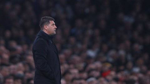 <p>               Red Star's head coach Vladan Milojevic watches the Champions League, group B, soccer match between Tottenham and Red Star Belgrade, at the Tottenham Hotspur stadium in London, Tuesday, Oct. 22, 2019. (AP Photo/Ian Walton)             </p>