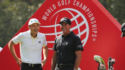 <p>               Li Haotong of China, left and Phil Mickelson of the United States chat before they tee off for the HSBC Champions golf tournament at the Sheshan International Golf Club in Shanghai on Thursday, Oct. 31, 2019. (AP Photo/Ng Han Guan)             </p>