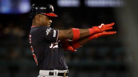 <p>               Washington Nationals' Victor Robles celebrates after a double against the Los Angeles Dodgers during the sixth inning in Game 2 of a baseball National League Division Series on Friday, Oct. 4, 2019, in Los Angeles. (AP Photo/Marcio Jose Sanchez)             </p>