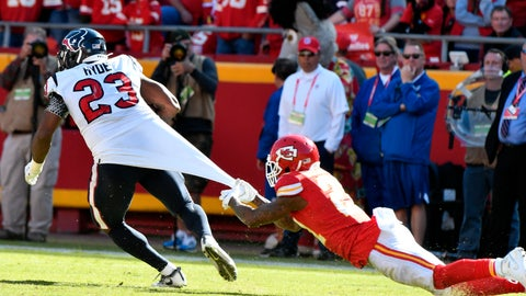<p>               Kansas City Chiefs cornerback Bashaud Breeland (21) hangs on to the jersey of Houston Texans running back Carlos Hyde (23) during the second half of an NFL football game in Kansas City, Mo., Sunday, Oct. 13, 2019. The Houston Texans won 31-24. (AP Photo/Ed Zurga)             </p>