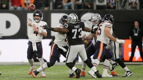 <p>               Chicago Bears quarterback Chase Daniel (4) throws during the first half of an NFL football game against the Oakland Raiders at Tottenham Hotspur Stadium, Sunday, Oct. 6, 2019, in London. (AP Photo/Tim Ireland)             </p>