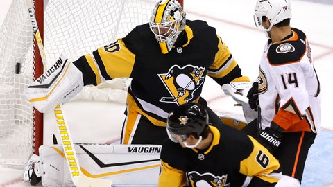 <p>               Pittsburgh Penguins goaltender Matt Murray (30) blocks a shot during the first period of the team's NHL hockey game against the Anaheim Ducks in Pittsburgh, Thursday, Oct. 10, 2019. (AP Photo/Gene J. Puskar)             </p>