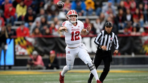 <p>               Indiana quarterback Peyton Ramsey throws a pass during the second half of an NCAA college football game against Maryland, Saturday, Oct. 19, 2019, in College Park, Md. (AP Photo/Nick Wass)             </p>