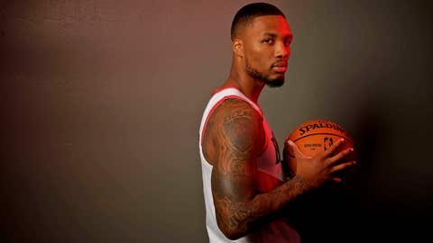 <p>               Portland Trail Blazers guard Damian Lillard poses during the NBA basketball team's media day at the Moda Center in Portland, Ore., Monday, Sept. 30, 2019. (AP Photo/Sam Ortega)             </p>