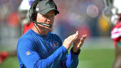 <p>               Buffalo Bills head coach Sean McDermott gives encouragement from the sideline the first half of an NFL football game Miami Dolphins, Sunday, Oct. 20, 2019, in Orchard Park, N.Y. (AP Photo/Adrian Kraus)             </p>
