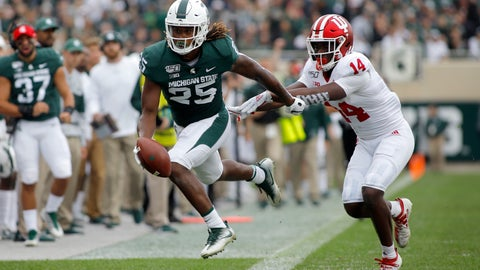 <p>               Michigan State receiver Darrell Stewart, left, is pushed out of bounds by Indiana's Andre Brown (14) after a pass reception during the first quarter of an NCAA college football game, Saturday, Sept. 28, 2019, in East Lansing, Mich. (AP Photo/Al Goldis)             </p>