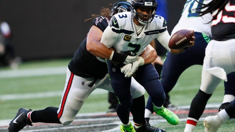 <p>               Seattle Seahawks quarterback Russell Wilson (3) is sacked by Atlanta Falcons defensive tackle Tyeler Davison (96) during the second half of an NFL football game, Sunday, Oct. 27, 2019, in Atlanta. (AP Photo/John Bazemore)             </p>
