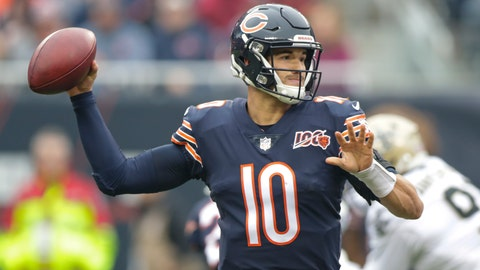 <p>               Chicago Bears quarterback Mitchell Trubisky (10) throws during the first half of an NFL football game against the New Orleans Saints in Chicago, Sunday, Oct. 20, 2019. (AP Photo/Michael Conroy)             </p>
