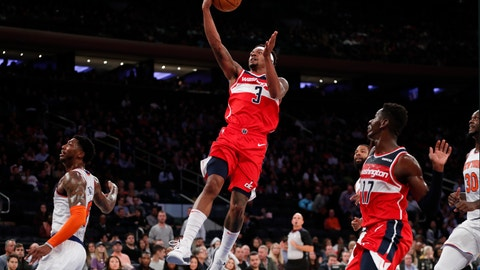 <p>               Washington Wizards guard Bradley Beal (3) leaps for a layup during the first half of the team's preseason NBA basketball game against the New York Knicks in New York, Friday, Oct. 11, 2019. (AP Photo/Kathy Willens)             </p>