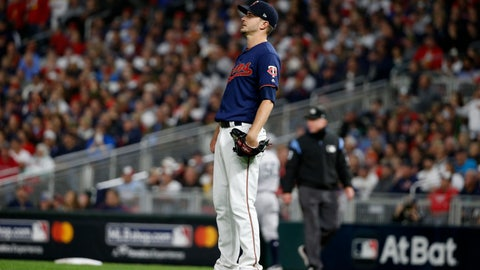 <p>               Minnesota Twins starting pitcher Jake Odorizzi watches a home run hit by New York Yankees' Gleyber Torres during the second inning in Game 3 of a baseball American League Division Series, Monday, Oct. 7, 2019, in Minneapolis. (AP Photo/Bruce Kluckhohn)             </p>