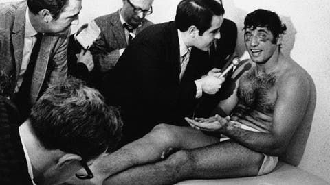 <p>               FILE - In this Jan. 13, 1969, file photo, New York Jets quarterback Joe Namath talks with reporters as he rests on a training table in the teams dressing room the morning after the Jets defeated the Baltimore Colts 16-7 in Super Bowl III in Miami, Fla. Namath is the NFL's greatest character. Guaranteed.  The Pro Football Hall of Fame quarterback who guaranteed his three-touchdown underdog New York Jets would beat the mighty Baltimore Colts in the third Super Bowl was a solid choice in balloting conducted by The Associated Press in conjunction with the league's celebration of its 100th season. (AP Photo/File)             </p>