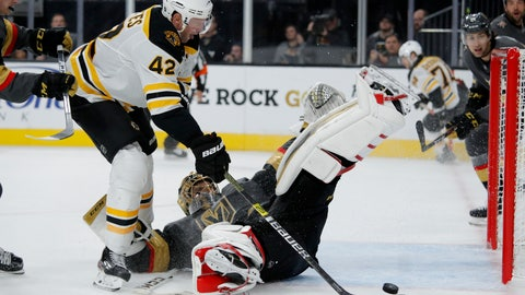 <p>               Boston Bruins right wing David Backes (42) attempts a shot on Vegas Golden Knights goaltender Marc-Andre Fleury during the third period of an NHL hockey game Tuesday, Oct. 8, 2019, in Las Vegas. (AP Photo/John Locher)             </p>