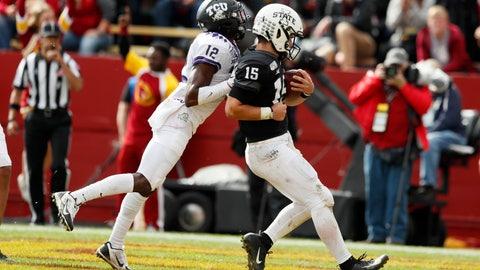 <p>               Iowa State quarterback Brock Purdy (15) scores on a 10-yard touchdown run ahead of TCU cornerback Jeff Gladney, left, in the second half of an NCAA college football game, Saturday, Oct. 5, 2019, in Ames, Iowa. Iowa State won 49-24. (AP Photo/Charlie Neibergall)             </p>