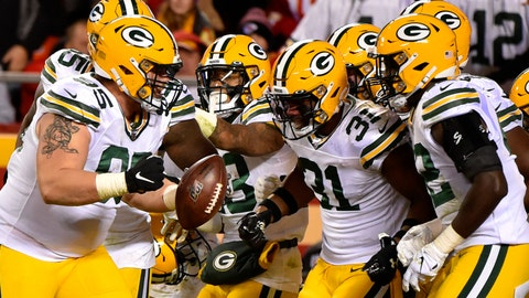 <p>               Green Bay Packers players celebrate with defensive lineman Tyler Lancaster (95), who recovered a ball fumbled by Kansas City Chiefs running back LeSean McCoy, during the second half of an NFL football game in Kansas City, Mo., Sunday, Oct. 27, 2019. (AP Photo/Ed Zurga)             </p>