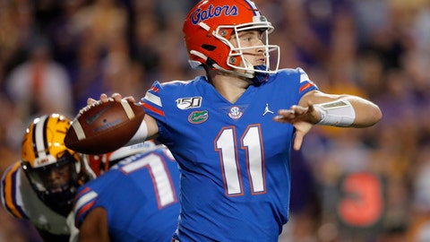 <p>               Florida quarterback Kyle Trask (11) passes in the first half of an NCAA college football game against LSU in Baton Rouge, La., Saturday, Oct. 12, 2019. (AP Photo/Gerald Herbert)             </p>