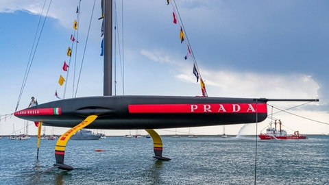 <p>               In this photo provided by Luna Rossa Challenge, the Luna Rossa Prada Pirelli is launched on Wednesday, Oct. 2, 2019, in the Cagliari shipyard on the Isle of Sardinia in Italy. The sailing vessel is Italy's challenger for the the America's Cup, sailing's most prestigious prize. (Carlo Borlenghi/Luna Rossa via AP)             </p>