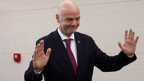 <p>               FIFA President Gianni Infantino, arrives at the Pyongyang Airport in Pyongyang, North Korea Tuesday, Oct. 15, 2019.  Infantino arrived in Pyongyang on the day that North Korean and South Korean teams are set to play a World Cup qualifier match in the North's capital. (AP Photo/Jon Chol Jin)             </p>