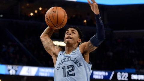 <p>               Memphis Grizzlies guard Ja Morant (12) goes up for a dunk in the first half of an NBA basketball game against the Brooklyn Nets, Sunday, Oct. 27, 2019, in Memphis, Tenn. (AP Photo/Brandon Dill)             </p>