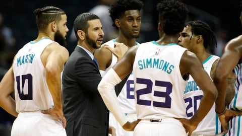 <p>               Charlotte Hornets coach James Borrego huddles with his team during a break in play against the Detroit Pistons during the second half of an NBA preseason basketball game in Charlotte, N.C., Wednesday, Oct. 16, 2019. The Pistons won 116-110. (AP Photo/Bob Leverone)             </p>