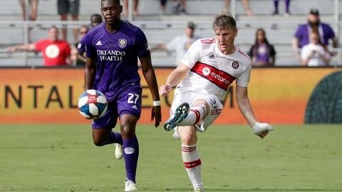 <p>               Chicago Fire's Bastian Schweinsteiger, right, passes the ball in front of Orlando City's Kamal Miller (27) during the first half of an MLS soccer match, Sunday, Oct. 6, 2019, in Orlando, Fla. (AP Photo/John Raoux)             </p>