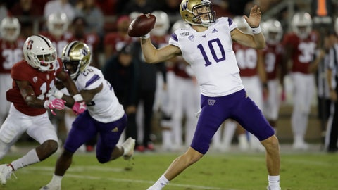 <p>               Washington's Jacob Eason passes against Stanford in the second half of an NCAA college football game Saturday, Oct. 5, 2019, in Stanford, Calif. (AP Photo/Ben Margot)             </p>