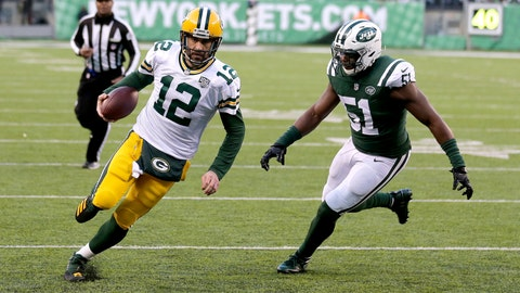 <p>               FILE - In this Dec. 23, 2018, file photo, Green Bay Packers quarterback Aaron Rodgers runs for a touchdown as New York Jets outside linebacker Brandon Copeland (51) chases him during the second half of an NFL football game in East Rutherford, N.J. Copeland is suing a company that sold a supplement he says was contaminated with a banned substance that didn't appear on the product's label. Copeland practiced Wednesday, Oct. 9, 2019, for the first time this season after being suspended by the NFL for the first four regular-season games for violating the league's policy on performance-enhancing drugs. Copeland says he failed the test on April 15, and the NFL announced his suspension on Aug. 21. (AP Photo/Seth Wenig, File)             </p>