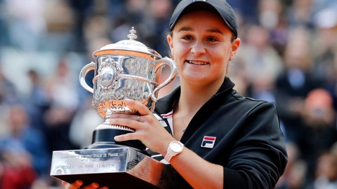 <p>               FILE - In this June 8, 2019, file photo, Australia's Ashleigh Barty holds the trophy as she celebrates after defeating Marketa Vondrousova, of the Czech Republic, in the women's final of the French Open tennis tournament at the Roland Garros stadium in Paris. Barty is ready to cap off the most successful season of her career with a first appearance in the year-end WTA Finals. (AP Photo/Christophe Ena, File)             </p>