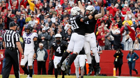 <p>               Iowa State tight end Chase Allen, right, celebrates with teammate Julian Good-Jones (51) after catching one-yard touchdown pass during the first half of an NCAA college football game against TCU, Saturday, Oct. 5, 2019, in Ames, Iowa. (AP Photo/Charlie Neibergall)             </p>