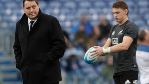 <p>               FILE - In this Nov. 24, 2018, file photo, New Zealand All Blacks coach Steve Hansen, left, walks on the pitch before the start of the rugby union international match between Italy and New Zealand at the Olympic Stadium in Rome. Of the eight teams remaining in the Rugby World Cup four are coached by New Zealanders who, from similar beginnings, pursued divergent coaching careers before their paths intersected at this tournament. (AP Photo/Gregorio Borgia, File)             </p>