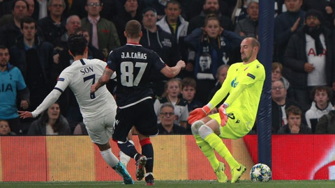 <p>               Tottenham's Son Heung-min, left, scores his side's third goal during the Champions League, group B, soccer match between Tottenham and Red Star Belgrade, at the Tottenham Hotspur stadium in London, Tuesday, Oct. 22, 2019. (AP Photo/Ian Walton)             </p>