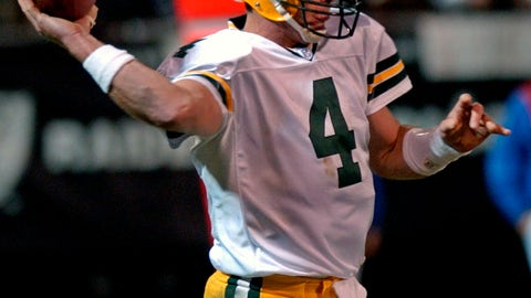 <p>               FILE In this Dec. 22, 2003, file photo, Green Bay Packers quarterback Brett Favre throws a pass against the Oakland Raiders in the second quarter of an NFL football game in Oakland, Calif. When it comes to emotional games, his four-touchdown against the Raiders the day after his father's death in 2003 stands out above all the rest.  (AP Photo/Paul Sakuma, File)             </p>
