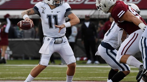 <p>               Connecticut quarterback Jack Zergiotis (11) throws during the first half of an NCAA college football game against Massachusetts, Saturday, Oct. 26,, 2019, in Amherst, Mass. (AP Photo/Jessica Hill)             </p>