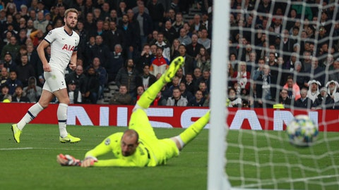 <p>               Tottenham's Harry Kane scores his side's fifth goal during the Champions League, group B, soccer match between Tottenham and Red Star Belgrade, at the Tottenham Hotspur stadium in London, Tuesday, Oct. 22, 2019. (AP Photo/Ian Walton)             </p>