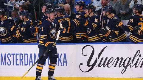 <p>               Buffalo Sabres forward Jack Eichel celebrates his goal during the second period of the team's NHL hockey game against the San Jose Sharks, Tuesday, Oct. 22, 2019, in Buffalo, N.Y. (AP Photo/Jeffrey T. Barnes)             </p>