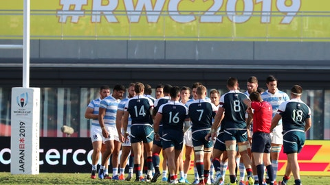 <p>               United States and Argentina players shake hands following their Rugby World Cup Pool C game at Kumagaya Rugby Stadium in Kumagaya City, Japan, Wednesday, Oct. 9, 2019. (AP Photo/Eugene Hoshiko)             </p>