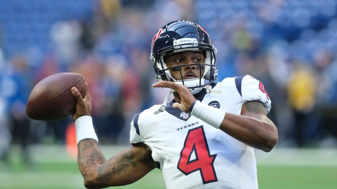 <p>               Houston Texans quarterback Deshaun Watson throws before an NFL football game against the Indianapolis Colts, Sunday, Oct. 20, 2019, in Indianapolis. (AP Photo/AJ Mast)             </p>